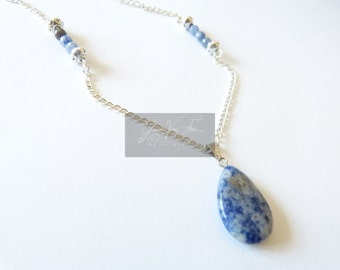 "Wife jewel necklace Silver ""The jewels of the Pythia"" magic stone-sodalite natural stone semi"