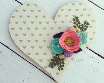 Gold heart fabric and wood heart