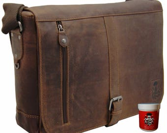 Big sholder bag – laptop case FRANKILIN made of brown leather