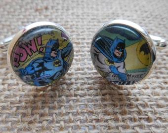 Handcrafted Batman Cufflinks - Fun Valentines Gift for him, Comic Book Gift, boyfriend gift or batman gift for boyfriend - Free UK Shipping