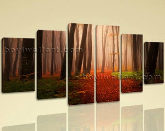 Extra Large Landscape Picture Forest Canvas Art Dining Room 6 Pieces print, Extra Large Forest Wall Art, Dining Room, Seal Brown
