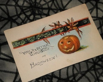 Unused Vintage Halloween Postcard Pumpkin Fairies Faeries Elves Brownies