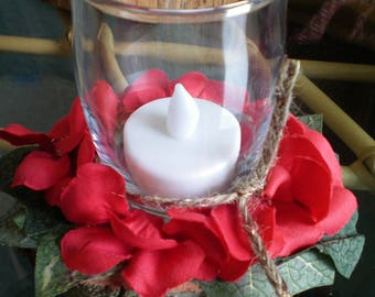 Floral Candle Holder Arrangement with Battery Candle ~ Red