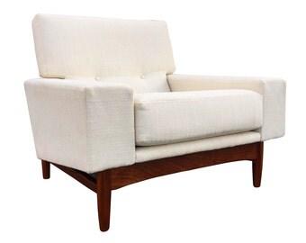 Mid Century Teak Lounge Chair by Ib Kofod Larsen for G Plan - Danish Modern Teak Arm Chair - Refinished - New Upholstery