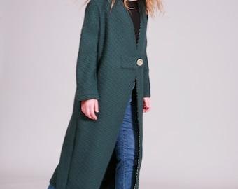 Wool Jacket, Green Blue Coat, Long Jacket, Loose Fit, Boho Chic, Womens jackets, Midi, Womens coats, Autumn Winter Coat, Green Jacket