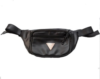 The Escobar Black Faux Leather Fanny Pack