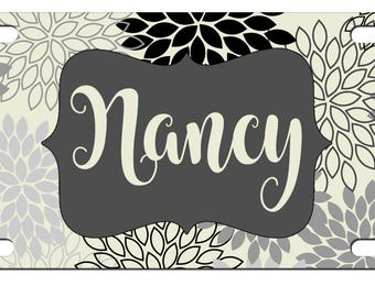 Monogrammed License Plate Personalized Car Tag - Mums Floral - Custom Car Tag - Front License Plate - Floral Flower