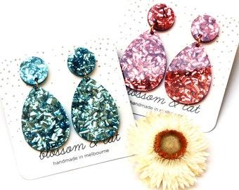Petal Short Drop Earring · Glitter Drop Earring · Bluebird & Pomegranate Petal Drop Earring · Petal Collection · 2 Colours