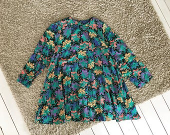 Vintage Marimekko dress blue green purple 1980s floral silk tropical