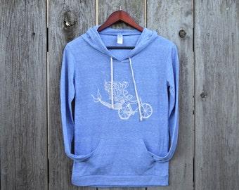 Mermaid Bike hoodie/ Mermaid Sweatshirt / Bike Sweatshirt / Eco Pacific Blue Alternative Apparel Hoodie