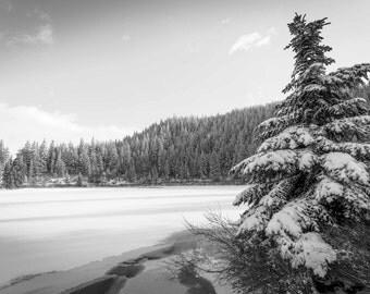 Oregon Cascades Photograph, Mt Hood Print, Black&White Photograph, Mirror Lake, Snowy Mountains Photograph, Pacific Northwest