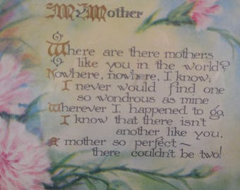 Mother plaque print in pastel colors with a brown frame.