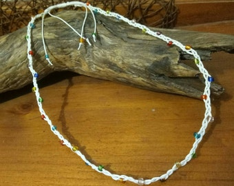 Handmade Waxed Cotton Necklace with Silver Tone or Coloured Seed Beads.