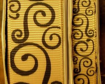 "2 Yards 3/8"" or 7/8"" US Designer Tan w/Black Scroll - Swirl Print Grosgrain Ribbon"