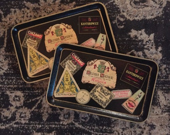 Pair of Vintage Alcohol Proof Small Vintage Trays/Paper Mache/Coasters/Miniature Trays