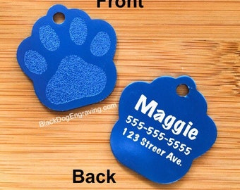 CLEARANCE Engraved LARGE BLUE Paw Print Dog Tag - Personalized Dog Tag - Engraved Dog Tag - Paw Print Pet Tag