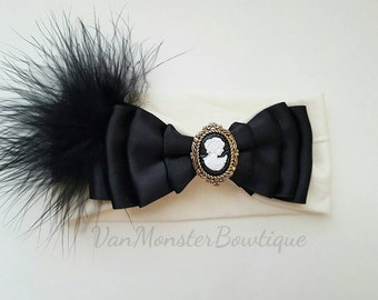 Vintage inspired baby headband with feathers