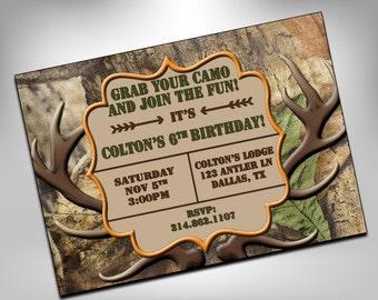 Hunting Birthday Invitation, Camo Birthday Invitation, Hunting Invite, Hunting Party, Hunting Birthday