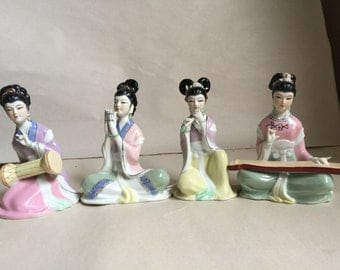 Vintage set of 4 Japanese Porcelain Geisha Figurine Musicians Oriental figurines playing Instruments