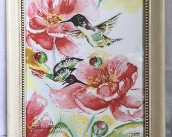 Pair of hummingbirds watercolor art by Vickie Quiggle signed numbered 17/500