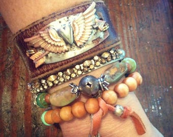 Miranda Lambert Inspired Roots and Wings Leather Cuff, Bohemian Hippie Gypsy Cowgirl Festival Cuff Bracelet