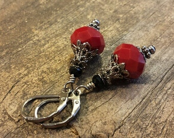 Victorian Earrings, Red Earrings, Red Velvet Earrings, Drop Earrings, Dangle Earrings, Holiday Earrings