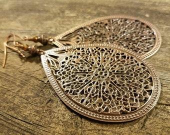 Copper Filigree Earrings, Boho Earrings, Metal Earrings, Victorian Style Earrings, Teardrop Earrings
