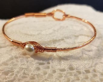 Copper Bracelet, Copper Bangle, Copper and Pearl Bracelet, Boho Bracelet, Handmade Bracelet