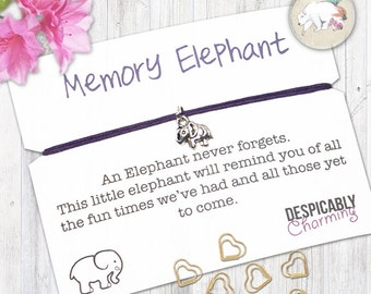 Friendship Bracelet, Memory Elephant Bracelet, Elephant jewellery, Elephant gifts, Make a Wish bracelet, Bracelet with Gift Card, BFF Gift