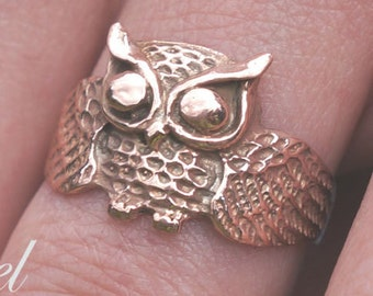 Owl Ring 10k 14k 18k Solid Gold in White, Yellow or Rose Gold, Gold Owl Ring, 14k Owl, Owl Jewelry, Cute Owl, Owl Gift, Wise Owl, Rose Owl
