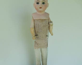 """German Antique Bisque Head Doll ~ 14"""" Socket Head ~ Made In Germany ~ In Need Of A Bit (a lot) Of Help"""
