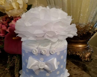 One Tier Light Blue With White Polka Dots Diaper Cake / Diaper Cake For Baby Boy / Blue And White Baby Shower