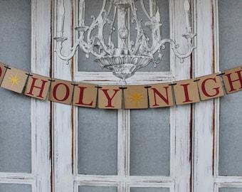 Christmas Banners - Christmas O Holy Night signs - Rustic Christmas Decorations - Christmas Card Photos