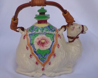 TEAPOT ~  Vintage Camel, Rattan handle,  Made in Japan,  hard to find design