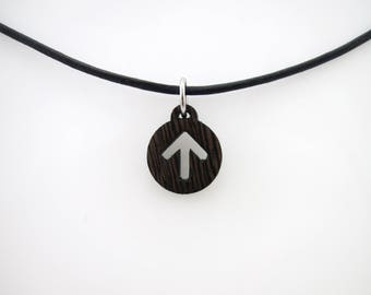 Natural Wenge Wood Submissive Male Ownership Icon Pendant on Leather Cord - Sized to Order