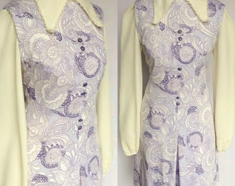 Vintage 60s 70s Dandi by Berkertex Mod Hippie Lilac Purple & White Psychedelic Floral Paisley Print Mini Scooter Shift Dress Medium