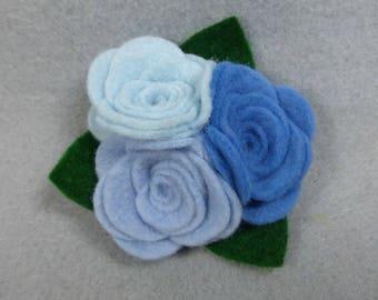 Blue Flower Barrette - Felt Flower Clip - Felt Barrette - Felt Clip - Flower Hair Clip - Artificial Flower - Fake Flower - Floral