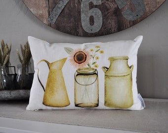 Farmerhouse Pillow INSERT INCLUDED, rustic Pillow Cover, Spring pillow cover, 14x20