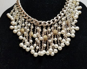 FREE  SHIPPING  1950 Pearl Gold Bib Necklace