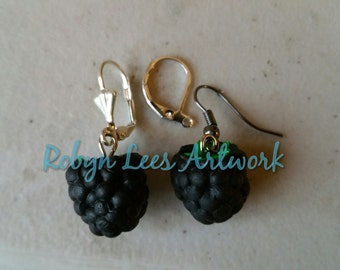 Small 3D Blackberry Fruit Charm Earrings on Silver Hooks, Leverbacks or Scalloped Leverback or Gunmetal Hooks. Berry, Food, Nature, Cute