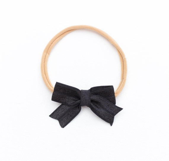 Black Baby Bow Headband or Clip // white nylon headband / small bow / classic bows/ sailor bow / barrettes