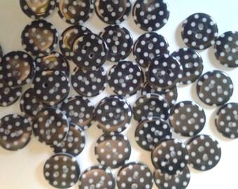 spotty buttons, polka dot buttons, black buttons, round buttons, bulk buttons, black spotty buttons, uk seller, matildas crafts, sewing