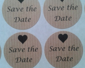 save the date stickers, wedding stickers, save the date, kraft stickers, wedding stationery, envelope seals, uk seller, round stickers