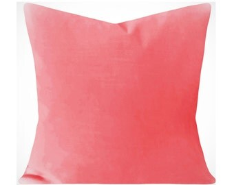Pink Coral Velvet Pillow Cover - Decorative Pillow - Both Sides - 12x16, 12x20, 14x18, 14x24, 16x16, 18x18, 20x20, 22x22, 24x24