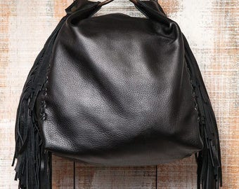Small black handbag, soft leather bag, fringes purse, evening bag, black leather hand bag, black pouch, women leather handbag