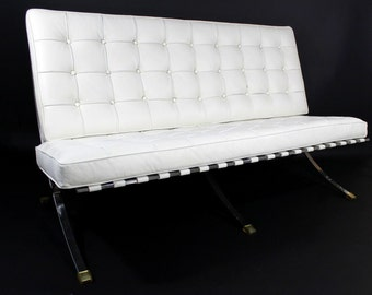 Mid Century Modern Barcelona Style White Leather & Chrome Bench Sofa Loveseat