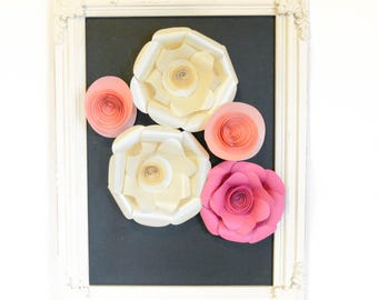 White and Pink Paper Flowers Set of 5 Paper Flowers wall decor paper flowers wedding paper flowers for wall faux flowers diy flower wall