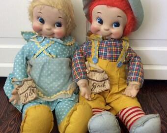 "Vintage 22"" Rushton ""Jack & Jill"" Dolls, Collectible Dolls, Rushton Stuffed Dolls, Vinyl Face Dolls, Mid Century Rushton Dolls, Vintage Doll"