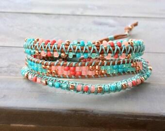 3x macrame Leather Wrap Bracelet, handmade Boho Bracelet, bohemian macrame bracelet, Coral Turquoise and Copper
