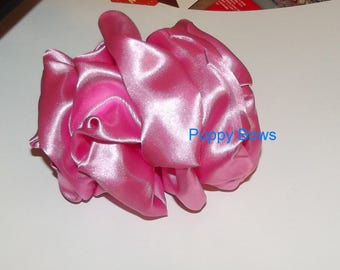 Becky Bows ~ Barrette rhinestones huge BIG hair bow Women or Girls large  solid PINK satin taffeta